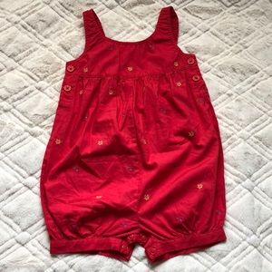 New Gymboree red baby girl romper 12-18 m shortie